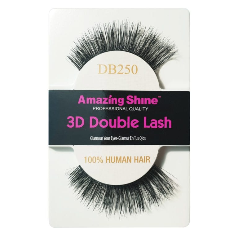 Amazing Shine Human Hair Eyelashes - 3D Double (12pk)