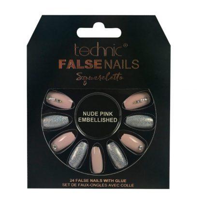Technic Squareletto False Nails - Nude Pink Embellished (6pcs)